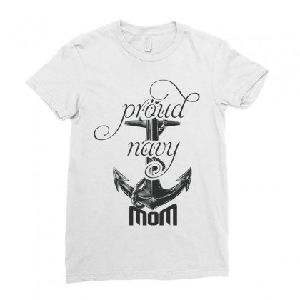Proud Navy Mom Ladies Fitted T-shirt Designed By Wizarts