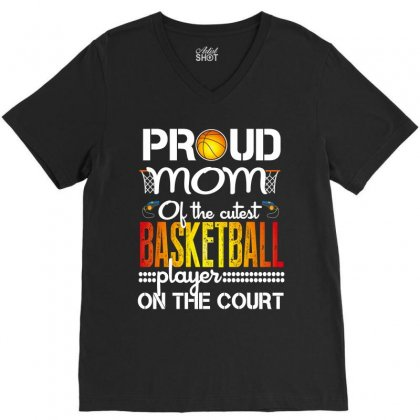 Proud Mom Basketball Player On The Court V-neck Tee Designed By Wizarts