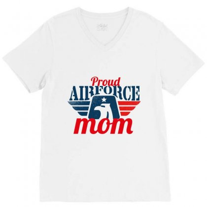 Proud Airforce Mom V-neck Tee Designed By Wizarts