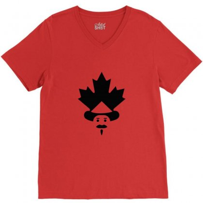 Canada Man Creative Icon V-neck Tee Designed By Lion Star Art