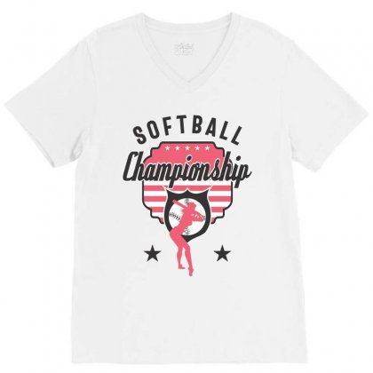 Softball Championship V-neck Tee Designed By Cidolopez