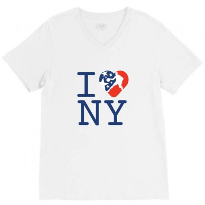 I Love New York Creative Basketball Icon V-neck Tee Designed By Lion Star Art