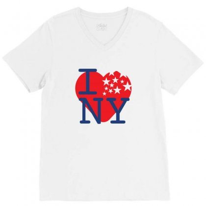 I Love New York Creative Icon V-neck Tee Designed By Lion Star Art