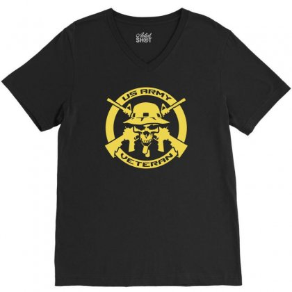 Army Veteran Skull Military V-neck Tee Designed By Satrio Art