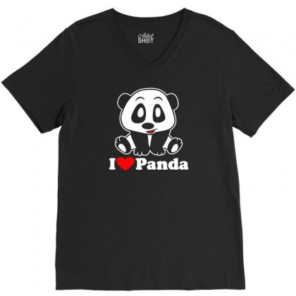 I Love Panda V-neck Tee Designed By Satrio Art