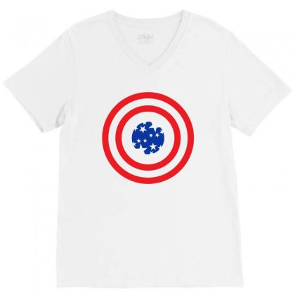 Usa Neck Circle V-neck Tee Designed By Lion Star Art