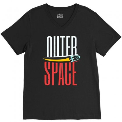 Rocket Moon Outer Space V-neck Tee Designed By Satrio Art