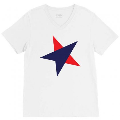 Us Star V-neck Tee Designed By Lion Star Art