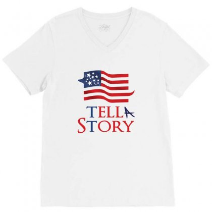 Usa Tell A Story Creative Icon V-neck Tee Designed By Lion Star Art
