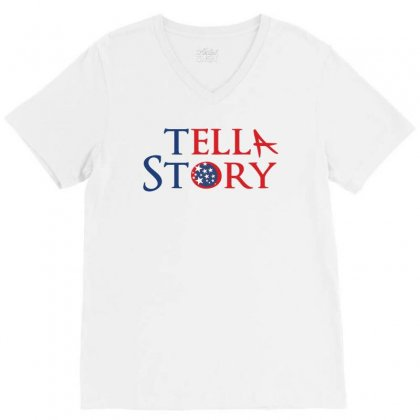 Usa Tell A Story Creative Typography V-neck Tee Designed By Lion Star Art