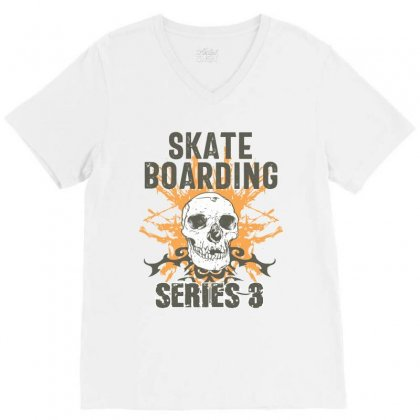 Skateboarding V-neck Tee Designed By Cidolopez