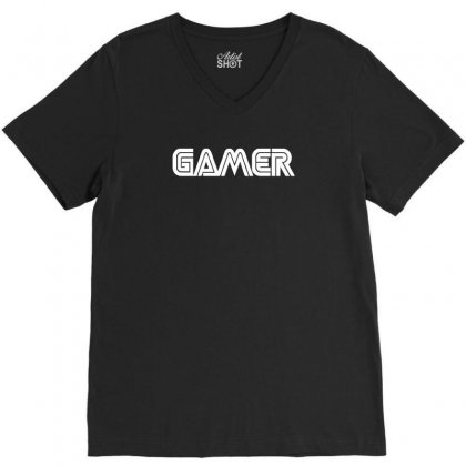 Gamert   Funny Comic Console Gamers V-neck Tee Designed By Enjang