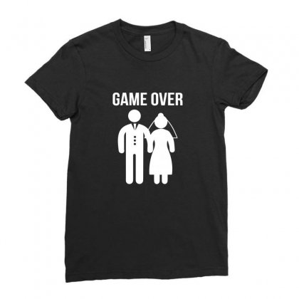 Game Over Funny Ladies Fitted T-shirt Designed By Enjang
