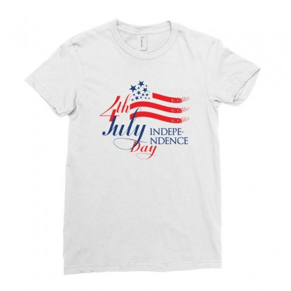 Usa Independence Day Creative Icon Ladies Fitted T-shirt Designed By Lion Star Art