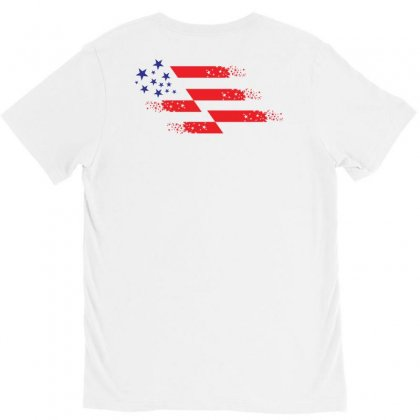 Us Flag Creative Illustration V-neck Tee Designed By Lion Star Art
