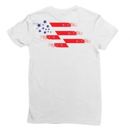 Us Flag Creative Illustration Ladies Fitted T-shirt Designed By Lion Star Art