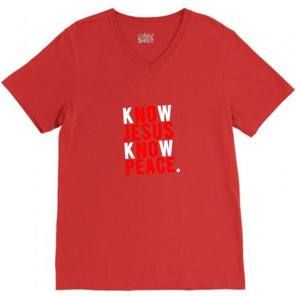 Know Jesus Know Peace Merch V-neck Tee Designed By Tasha