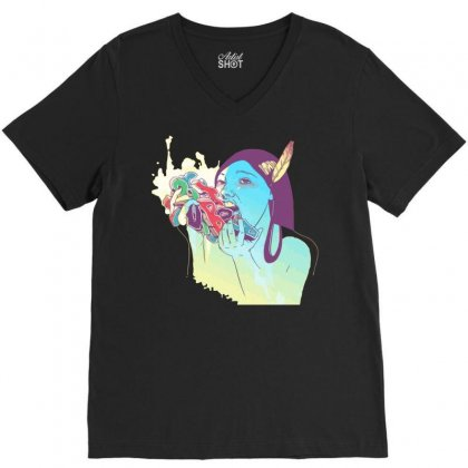 Abjad Consumption V-neck Tee Designed By Equinetee