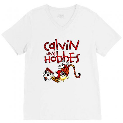Calvin And Hobbes V-neck Tee Designed By Pinkanzee