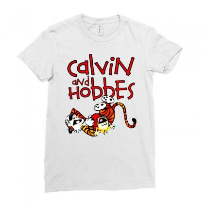 Calvin And Hobbes Ladies Fitted T-shirt Designed By Pinkanzee