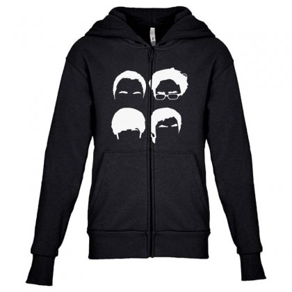 Big Band Theory Hair Youth Zipper Hoodie Designed By Blqs Apparel
