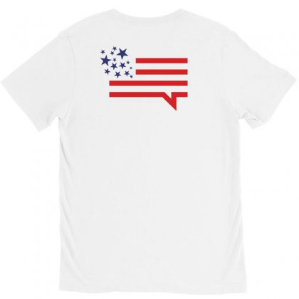 Usa Speech Bubble Creative Icon V-neck Tee Designed By Lion Star Art