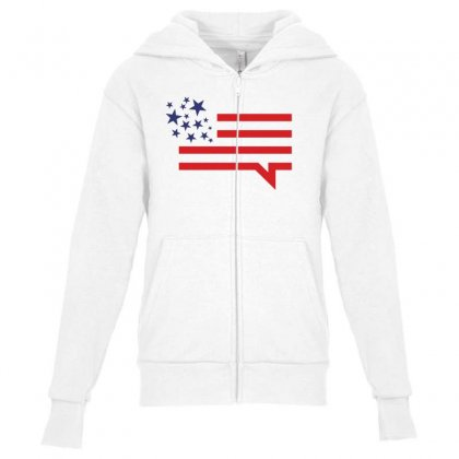 Usa Speech Bubble Creative Icon Youth Zipper Hoodie Designed By Lion Star Art