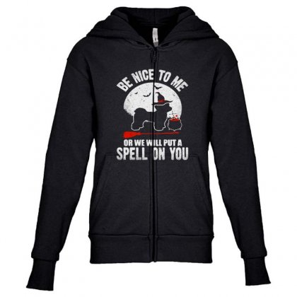 Be Nice To Me Or We Will Spell On You Youth Zipper Hoodie Designed By Blqs Apparel