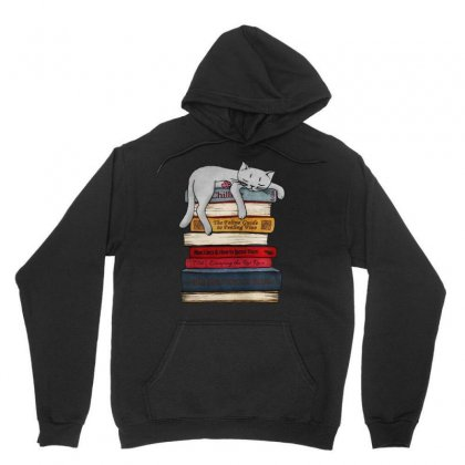 Funny Cat  Sleeping On The Books Unisex Hoodie Designed By Blqs Apparel