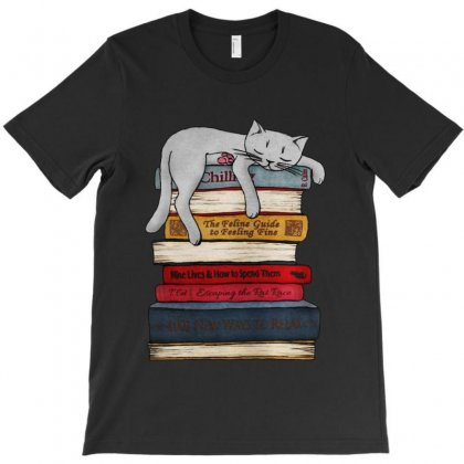 Funny Cat  Sleeping On The Books T-shirt Designed By Blqs Apparel