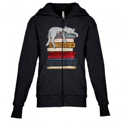 Funny Cat  Sleeping On The Books Youth Zipper Hoodie Designed By Blqs Apparel