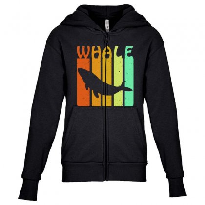 Vintage Retro Whale Lover Youth Zipper Hoodie Designed By Blqs Apparel