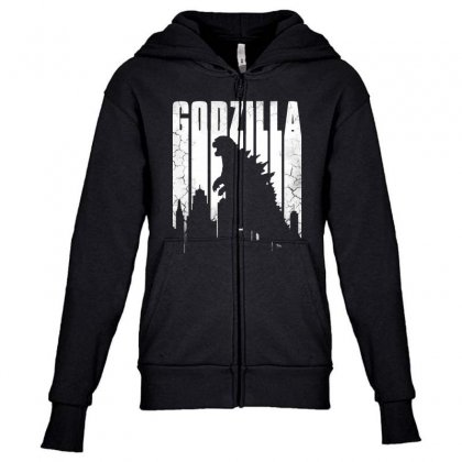 God Zilla  Vintage Youth Zipper Hoodie Designed By Pinkanzee