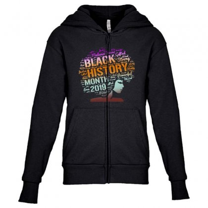 Black History Youth Zipper Hoodie Designed By Pinkanzee