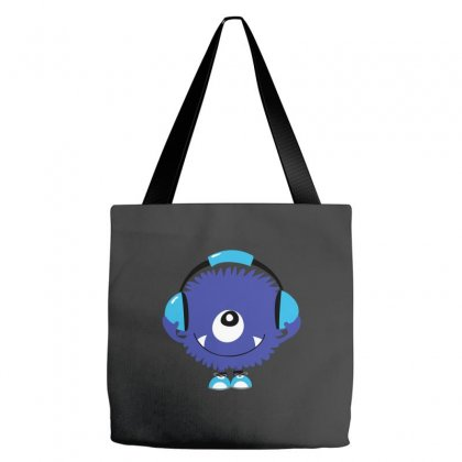 Cute Sound Monster With Headphones Tote Bags Designed By Equinetee