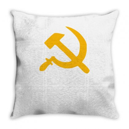 Hammer And Sickle Retro Style Ussr Communist Russian Cold War Throw Pillow Designed By Ismi