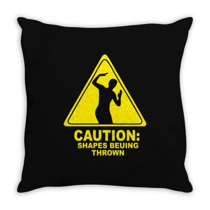 Caution Shapes Being Thrown Throw Pillow Designed By Teeshop