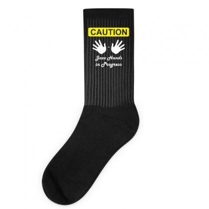 Caution Jazz Hands Funny Socks Designed By Teeshop