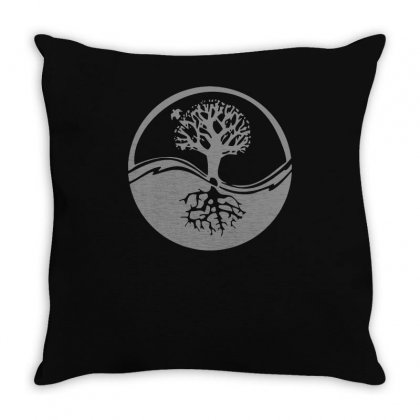Celtic Tribal Tree Of Life Yin Yang Style (1) Throw Pillow Designed By Teeshop