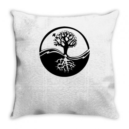 Celtic Tribal Tree Of Life Yin Yang Style Throw Pillow Designed By Teeshop