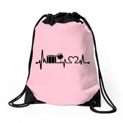 Drums Heartbeat   Funny Drummer Drawstring Bags Designed By Devanojohnsantos