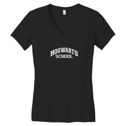 Hogwarts School Harry Potter School Sticker Transfer Iron On Women's V-neck T-shirt Designed By Funtee