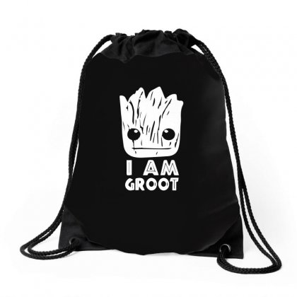 I Am Groot Face Drawstring Bags Designed By Ismi