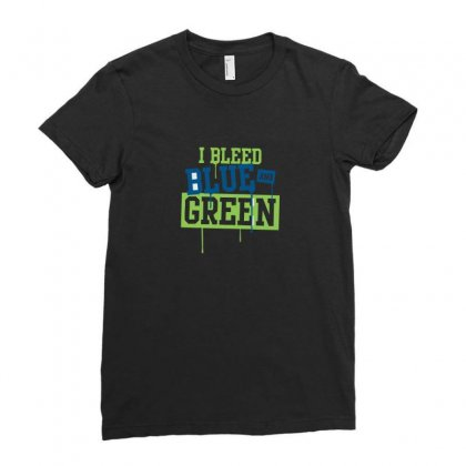 I Bleed Blue And Green Ladies Fitted T-shirt Designed By Ismi