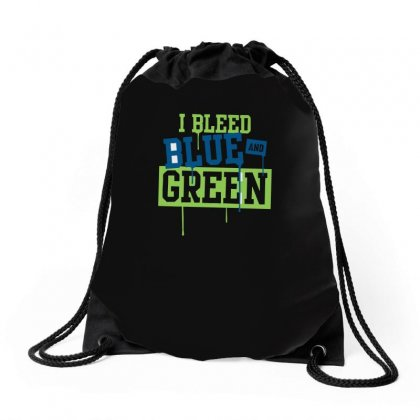 I Bleed Blue And Green Drawstring Bags Designed By Ismi