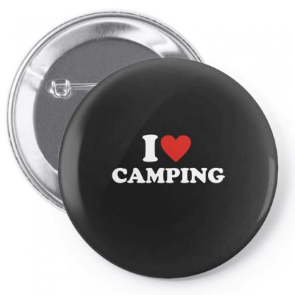 I Love Heart Camping Pin-back Button Designed By Ismi