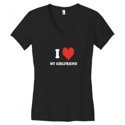 I Love My Girlfriend Women's V-neck T-shirt Designed By Ismi
