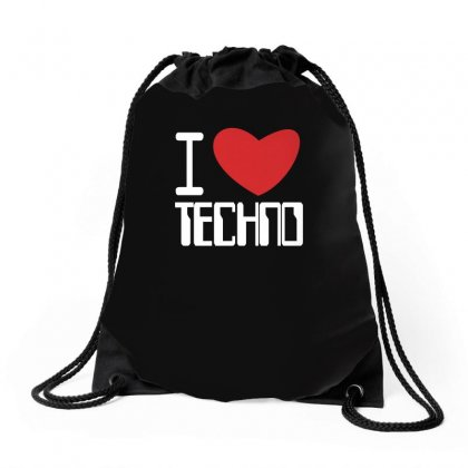 I Love Techno Club,ibiza,dj,music,rave Drawstring Bags Designed By Ismi