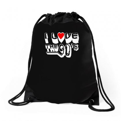 I Love The 90's  Musik Dj Fun Drawstring Bags Designed By Ismi