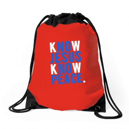 Know Jesus Know Peace Merch Drawstring Bags Designed By Willo